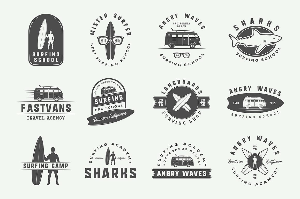 Vintage Surfing Emblems Bundle example image 8