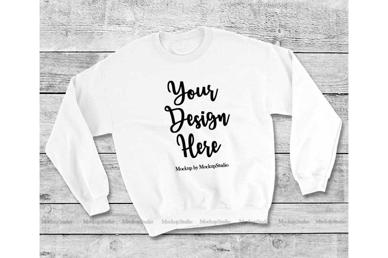 White Sweatshirt Mock Up, Unisex Sweatshirt Flat Lay Display example image 1