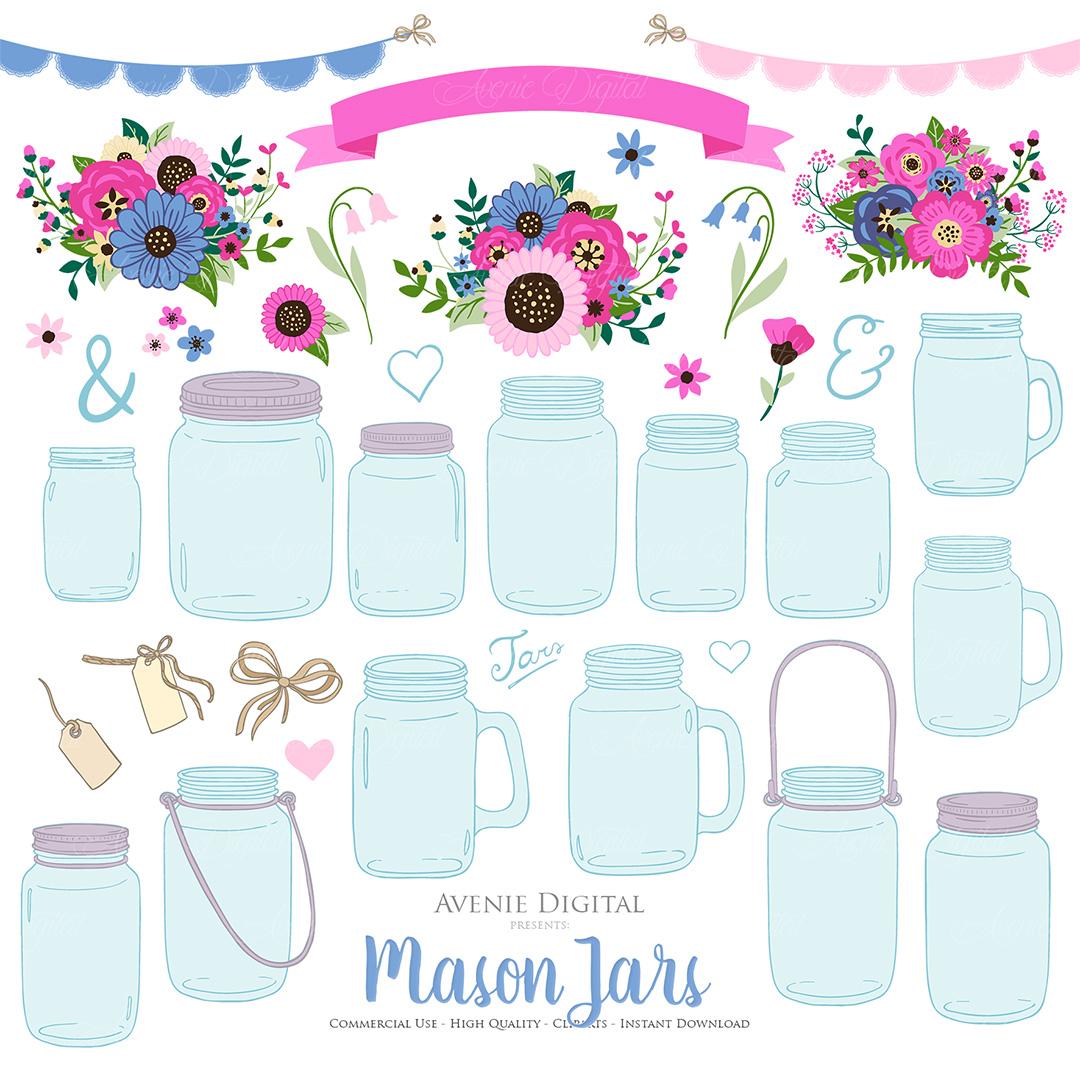 Pink and Navy Mason Jar Wedding Clipart example image 5
