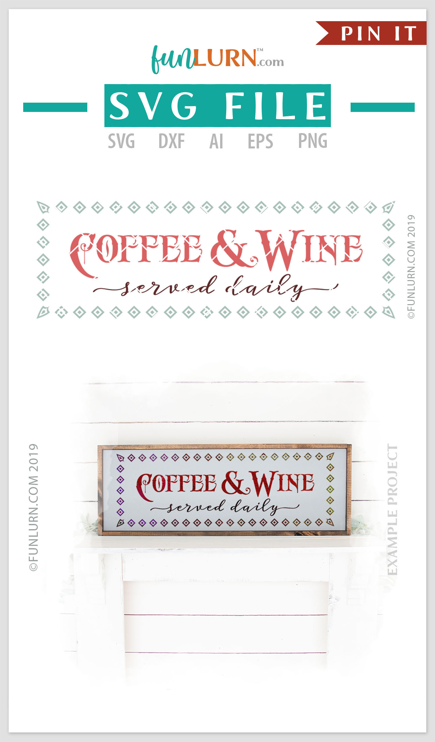 Coffee and Wine Served Daily SVG Cut File example image 3