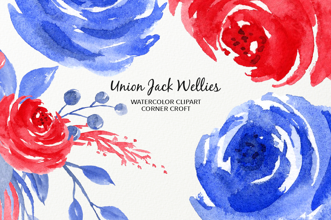 Watercolour Union Jack Welly Illustration, Welly Clipart, Rain Boots  example image 5