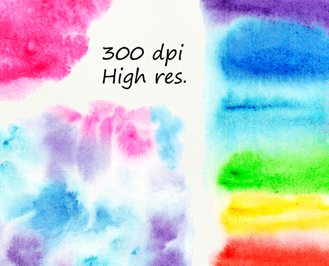 Bright Watercolor Splashes Spots Clipart example image 3