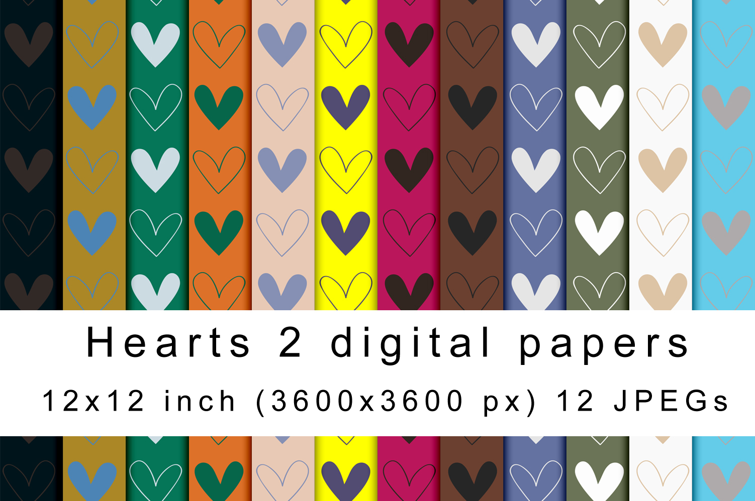 Hearts 2 digital papers example image 1
