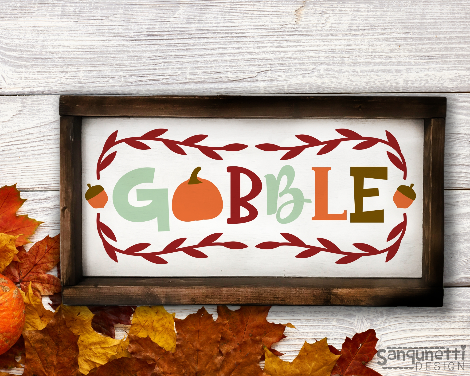 Gobble fall SVG, Thanksgiving autumn cut example image 2