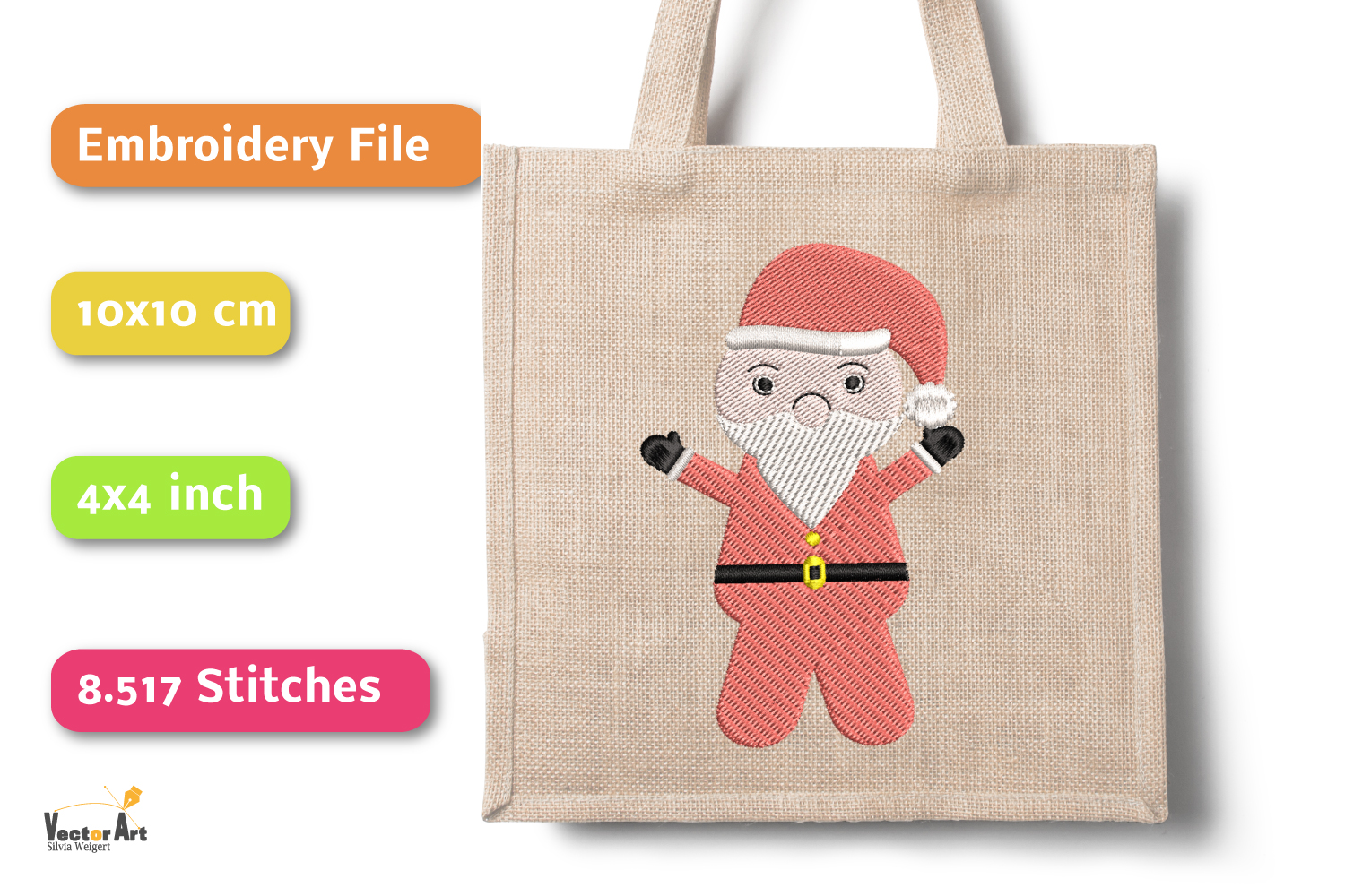 Santa Claus - Embroidery File - 4x4 inch example image 3
