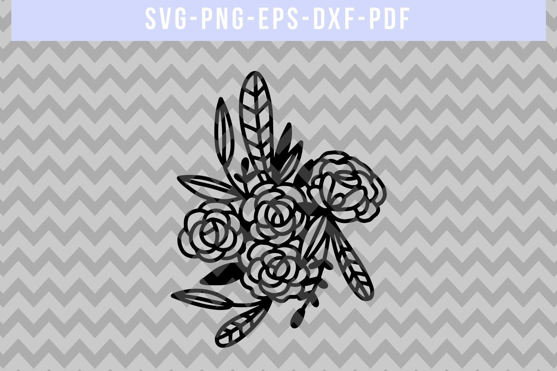 Floral Rose Papercut Template, Flower Arrangement SVG, PDF example image 4