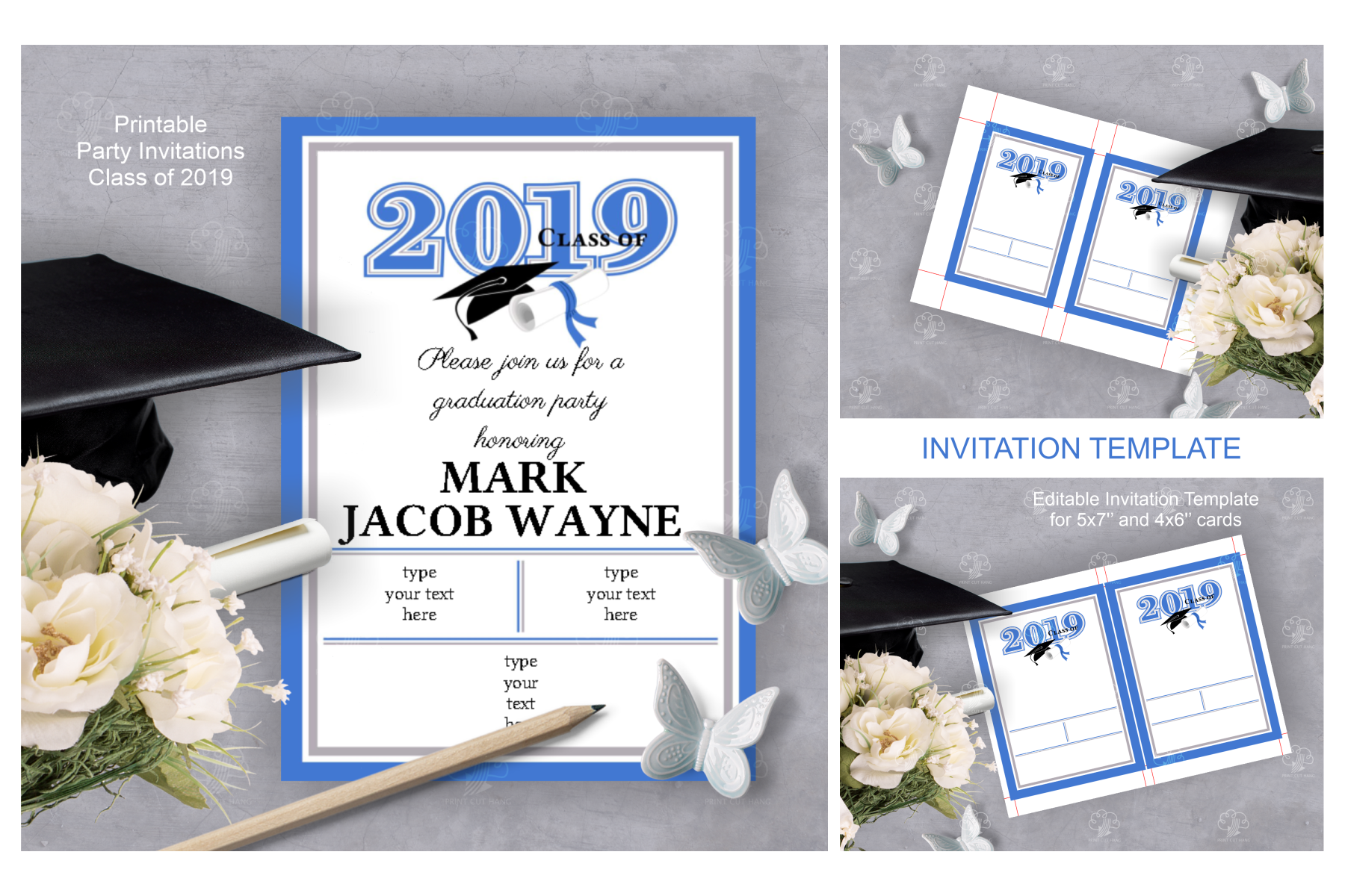 Invitation Template editable text - BLUE - Graduation 2019 example image 2