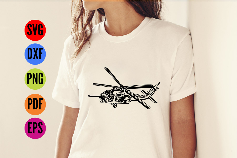 Helicopter Chopper Military SVG Cutting File  example image 2