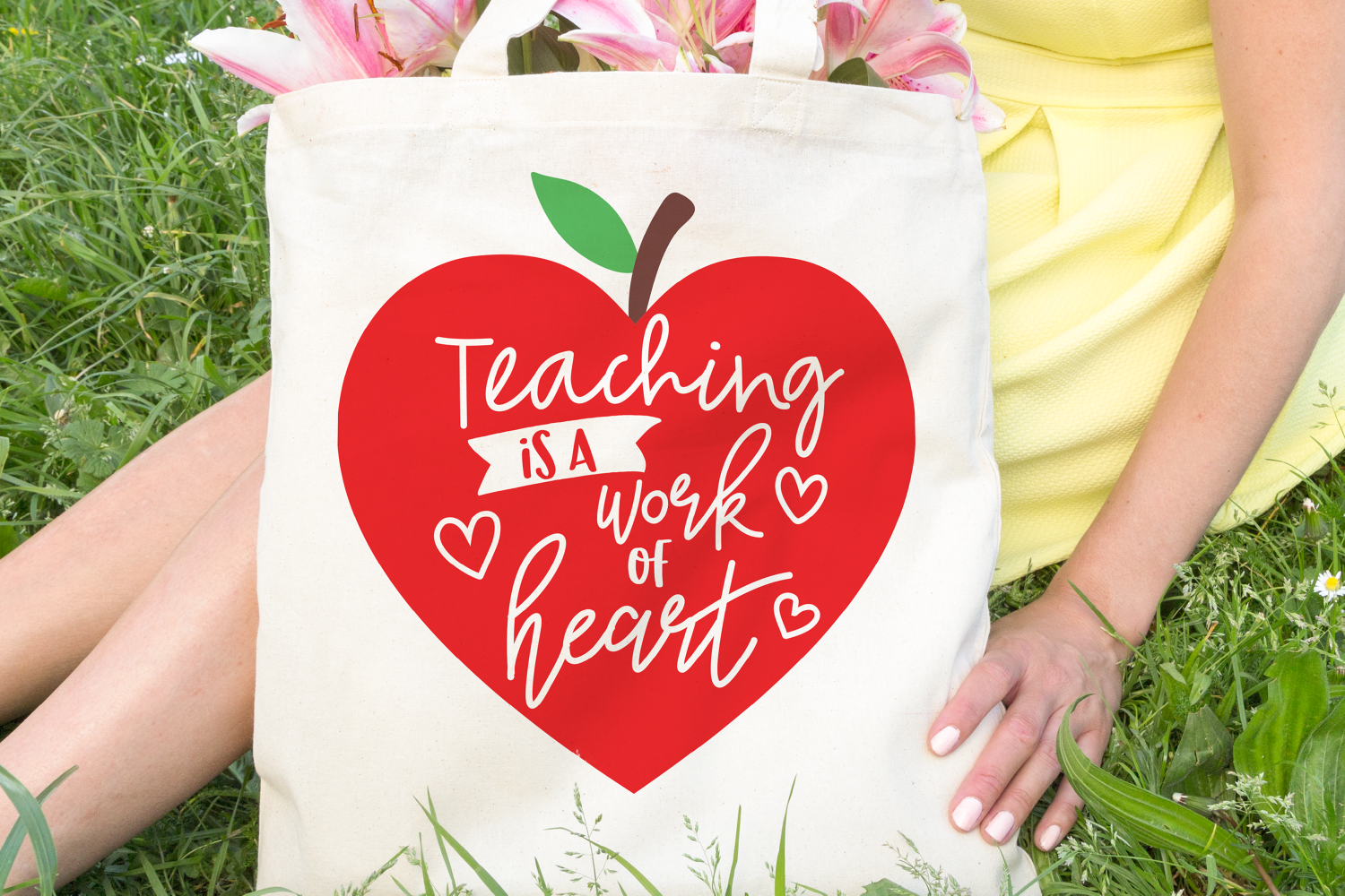 teacher svg, teaching is a work of heart, apple example image 3