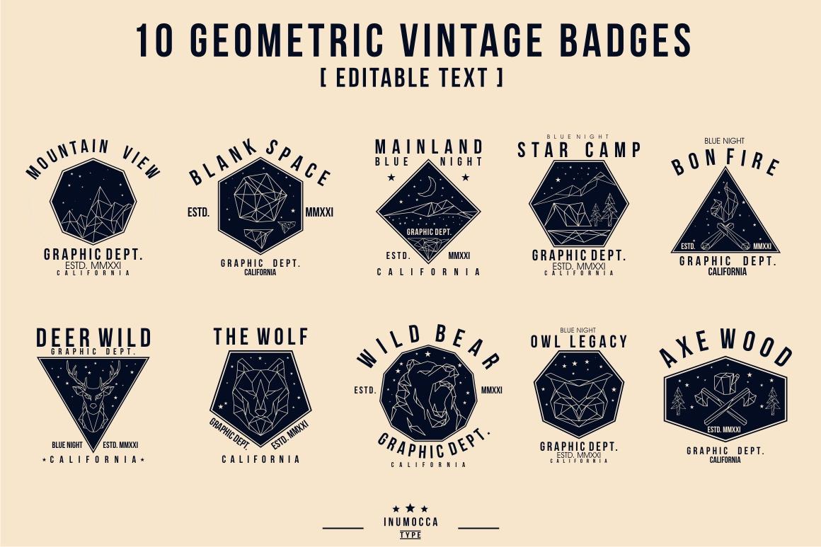 10 Geometric Vintage Badges example image 9
