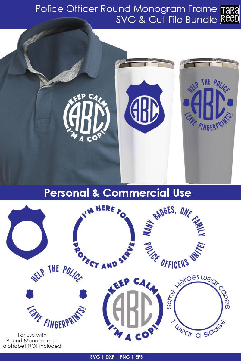 Police Officer Round Monogram Frame - Police SVG & Cut Files example image 2