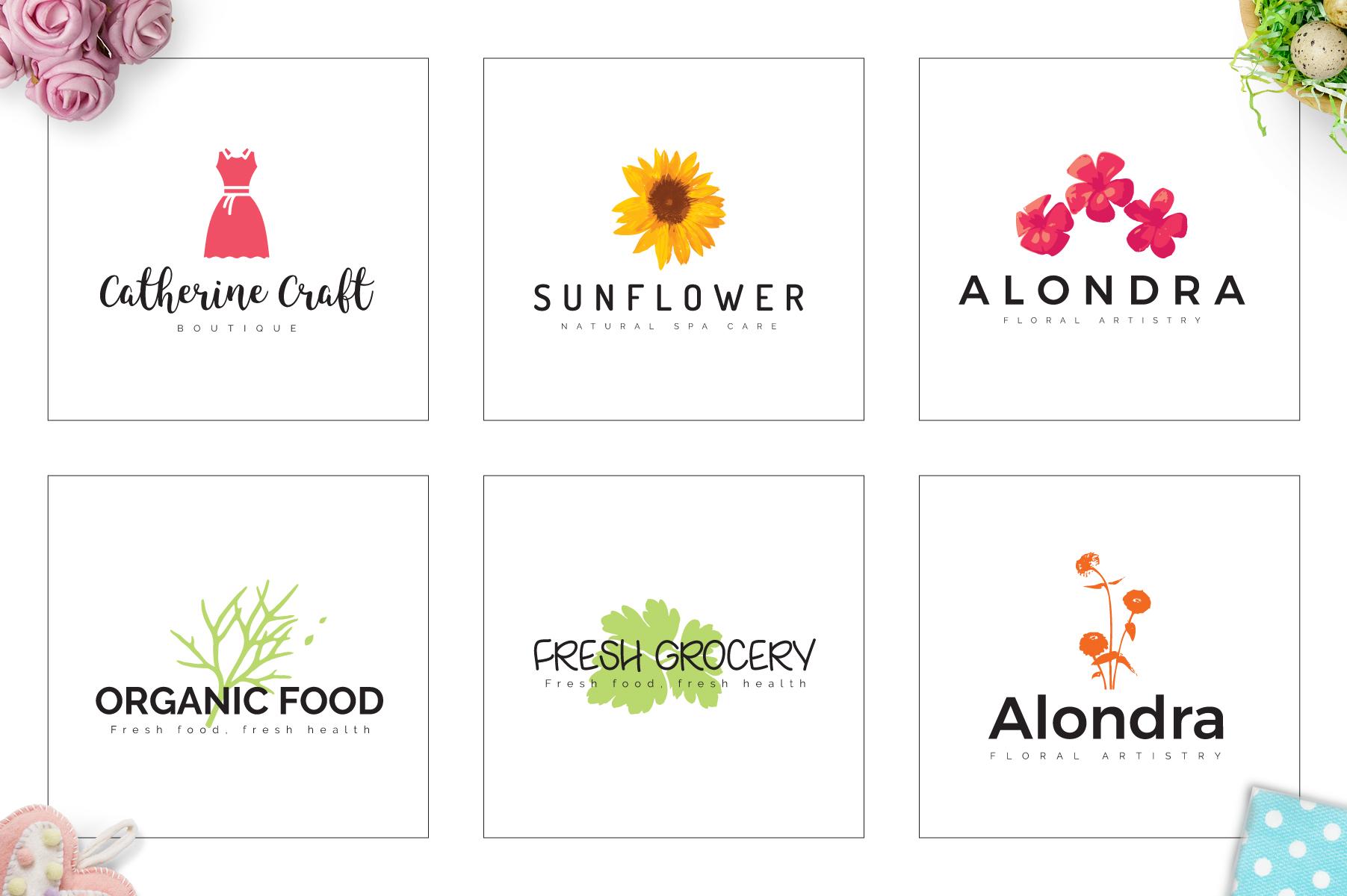 70 Elegant Floral Logo Bundle example image 7