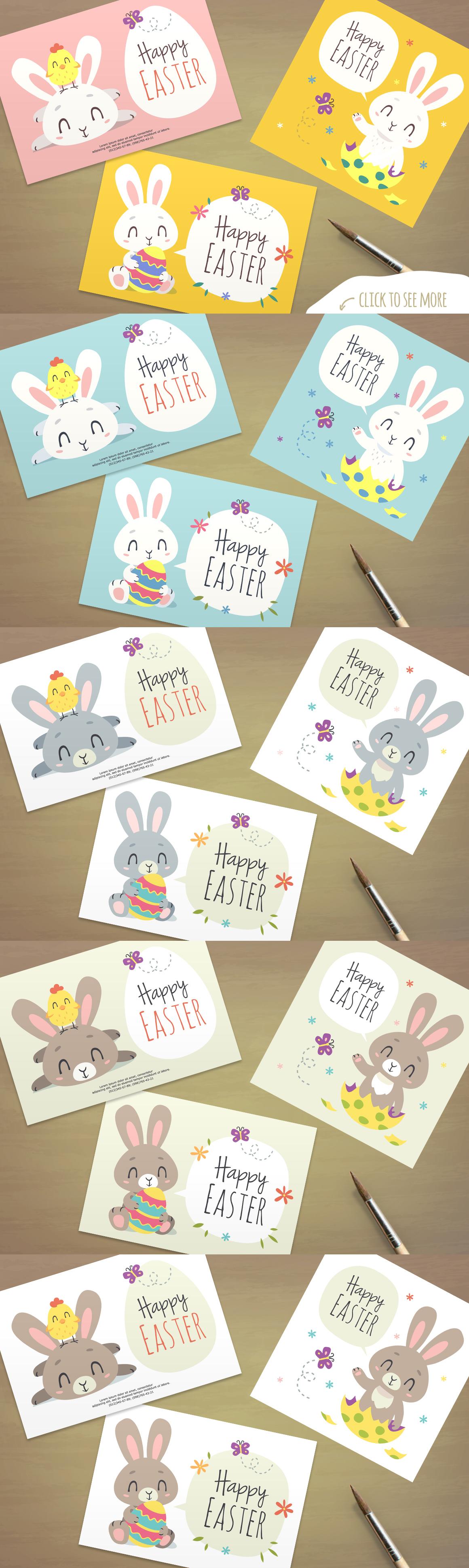 Easter Bunny Cartoon Set example image 6