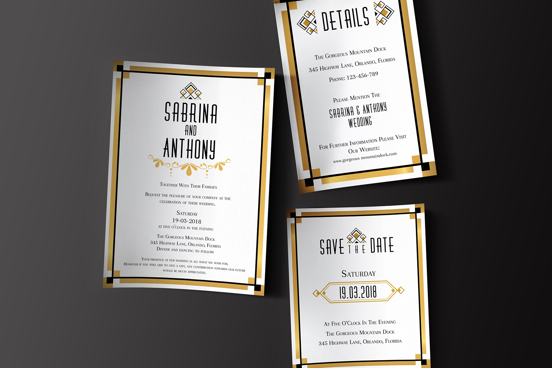 Art Deco Wedding Invitations.Art Deco Wedding Invitation Set