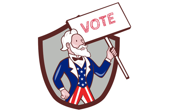 Uncle Sam American Placard Vote Crest Cartoon example image 1