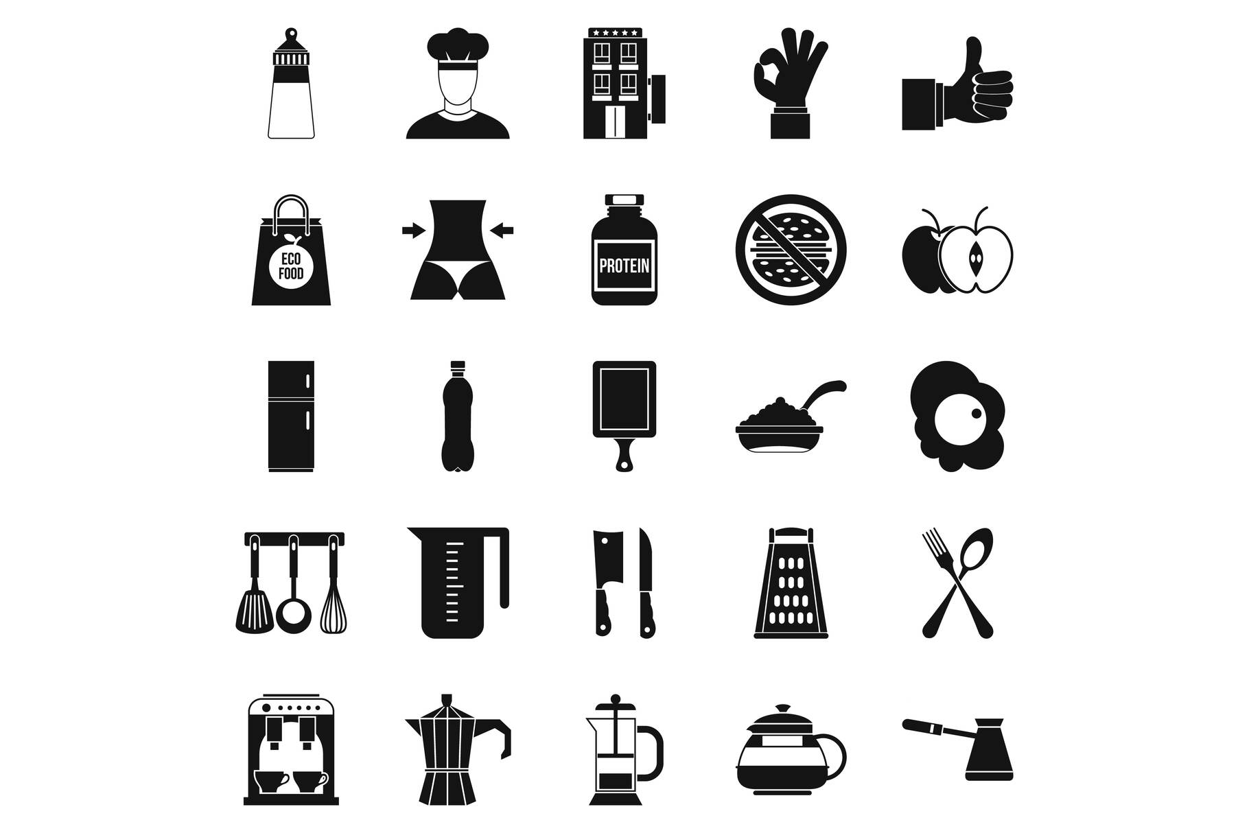 Different food icons set, simple style example image 1