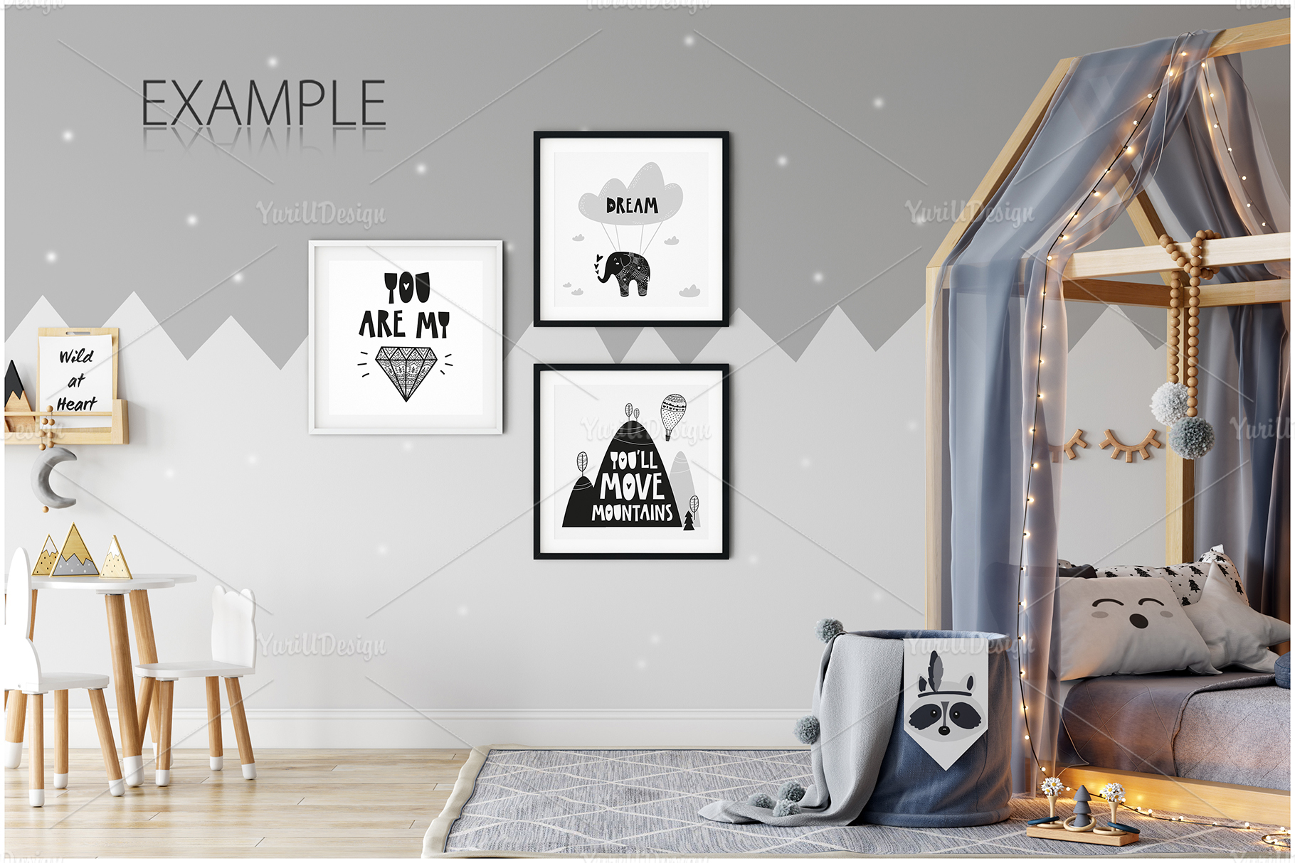 Kids Frames & Wall Mockup Bundle - 5 example image 14