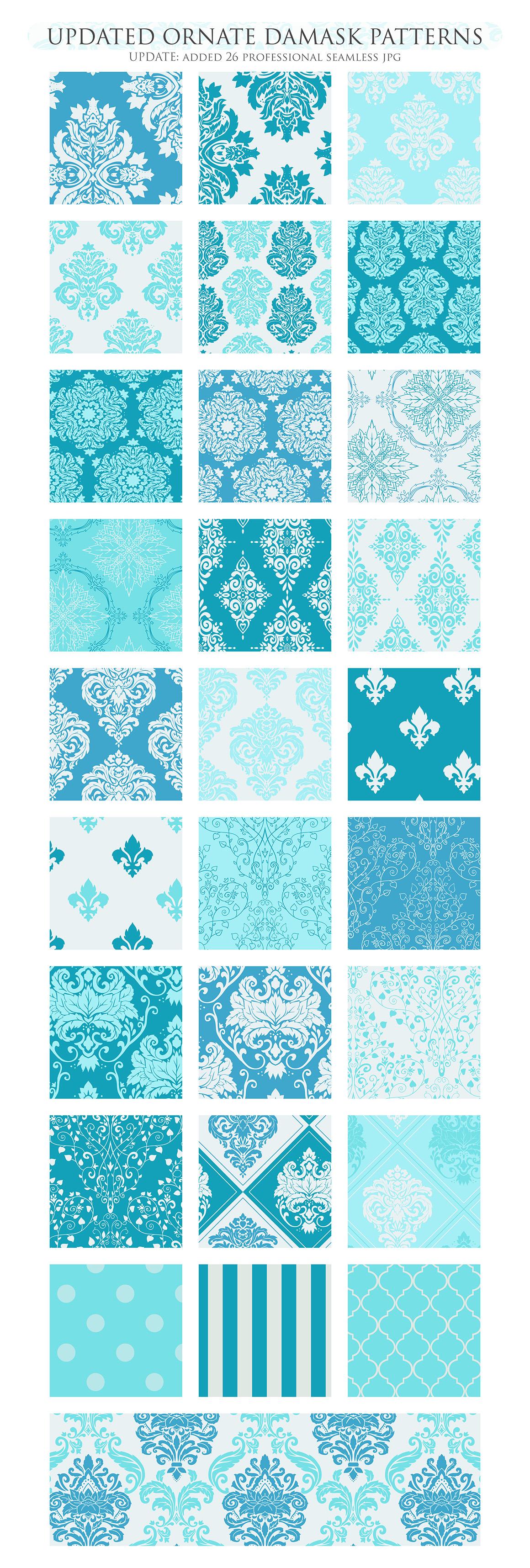 28 Soft Blue Damask Patterns - Seamless Digital Papers Bundle example image 3