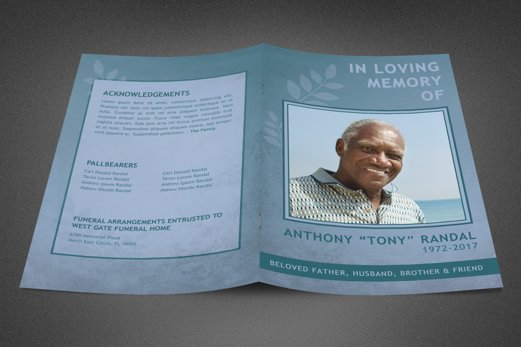 Refresh Blue Funeral Program example image 2