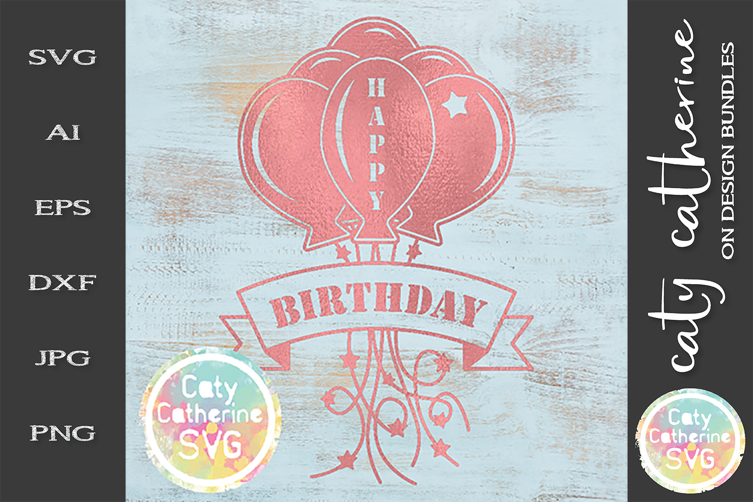 Happy Birthday Balloons And Banner Generic Any Age SVG example image 1