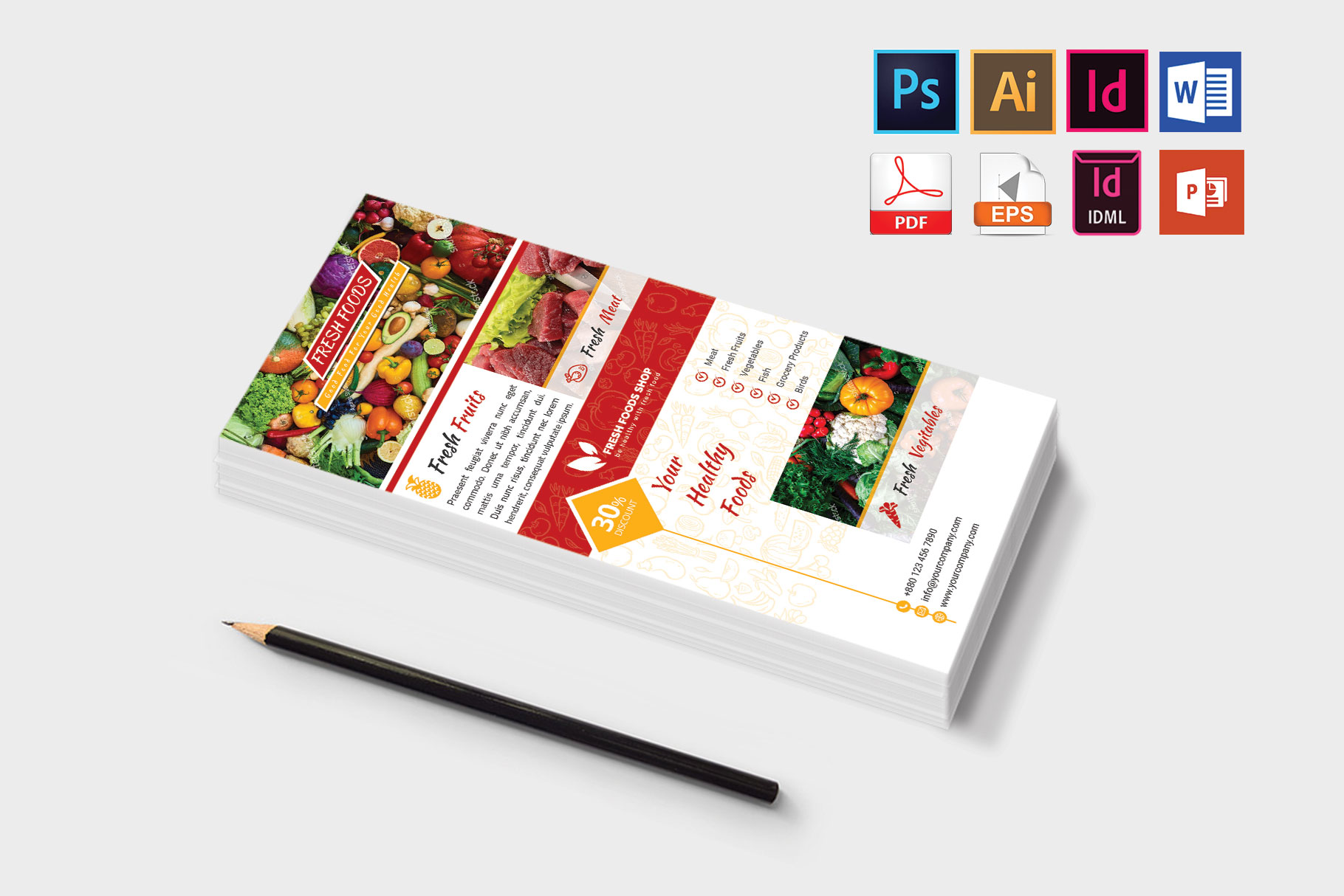 Rack Card | Fresh Food DL Flyer Vol-01 example image 3