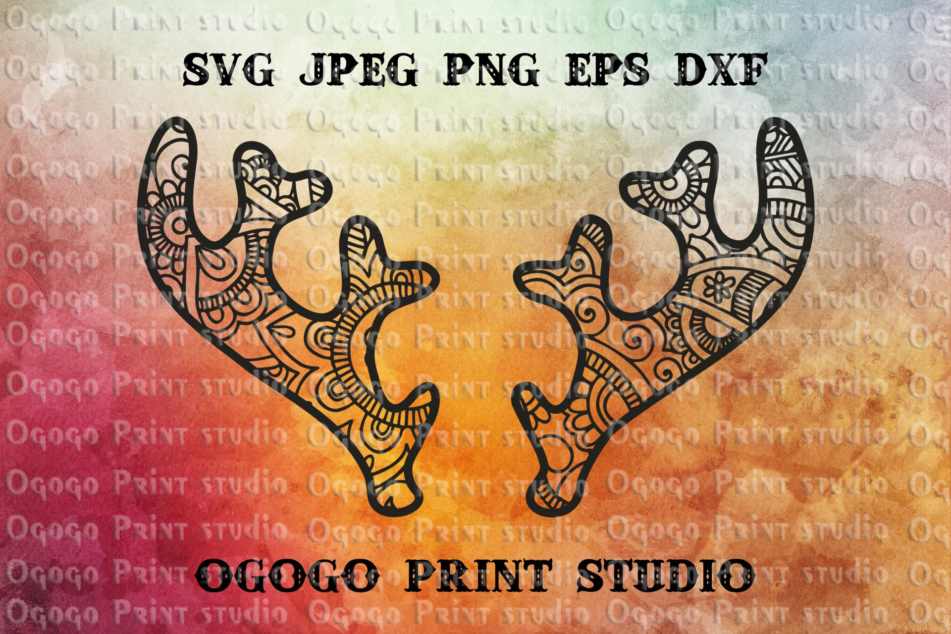 Antlers SVG, Deer SVG, Winter SVG, Christmas SVG, Zentangle example image 1
