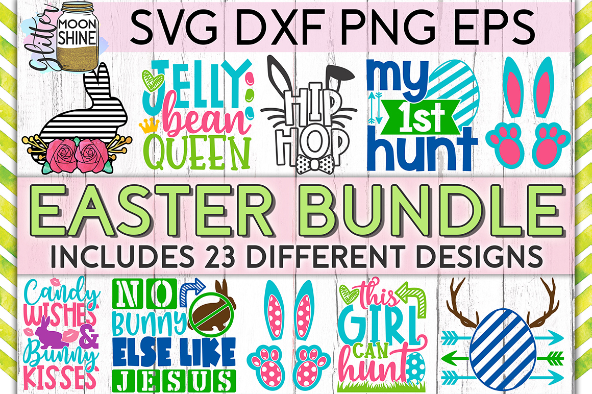 Easter Bundle of 23 SVG DXF PNG EPS Cutting Files example image 1