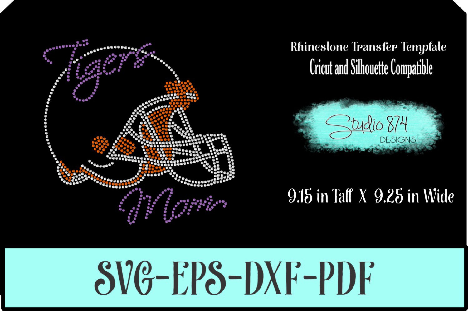 Tigers Football Rhinestone Template Download Mom R1 example image 1
