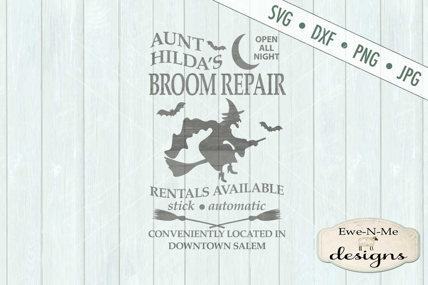 Hilda's Broom Repair Witch Halloween SVG DXF Files example image 2
