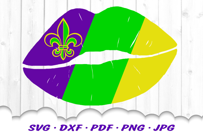 Mardi Gras Fleur De Lis Lips SVG DXF Cut Files example image 1