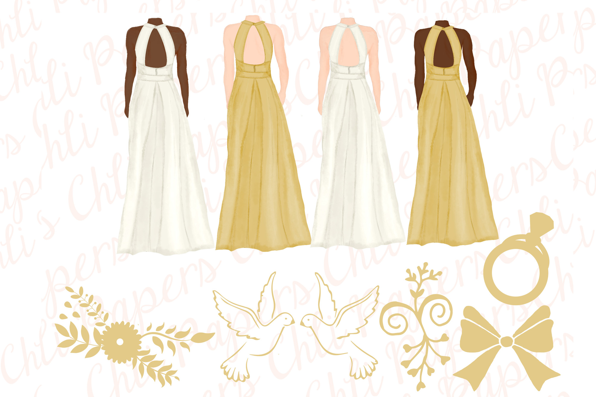 Bride and Bridesmaids clipart,Wedding clipart,Bridal clipart example image 3
