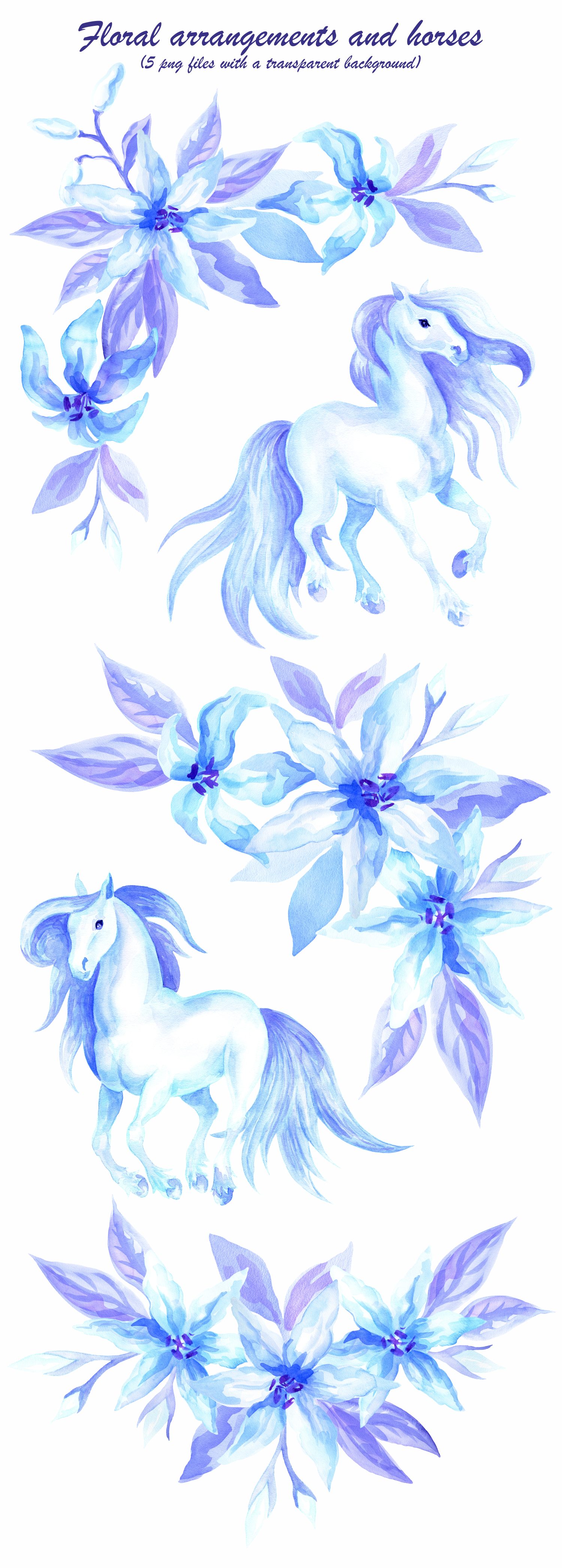 Ultraviolet dreams. Watercolor horses and flowers. example image 2