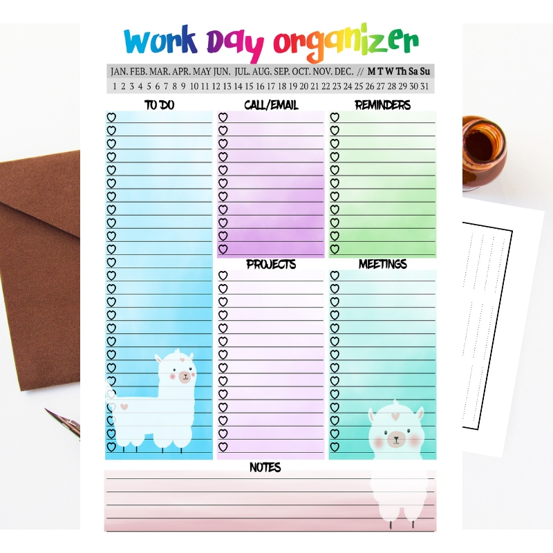 Llama daily Planner Printable Work day planner insert example image 3