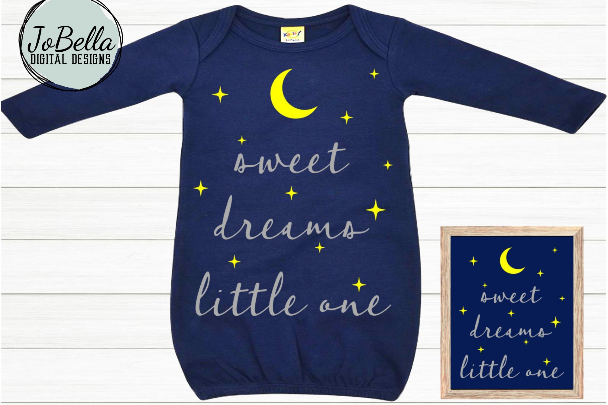 Baby SVG and Printable- Sweet Dreams Little One Moon & Stars example image 1