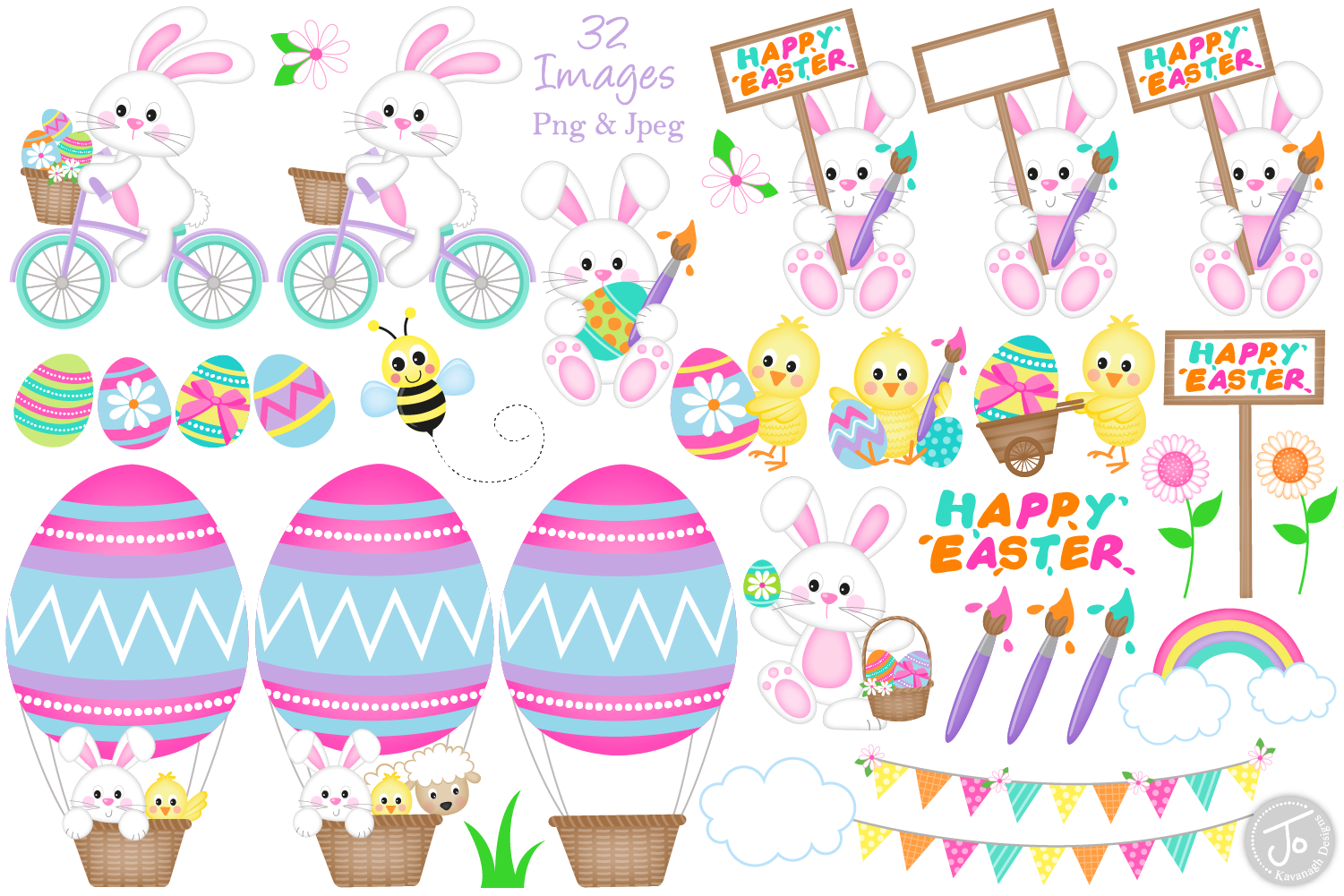 Easter bunny clipart, easter graphics & illustrations -C33 example image 2