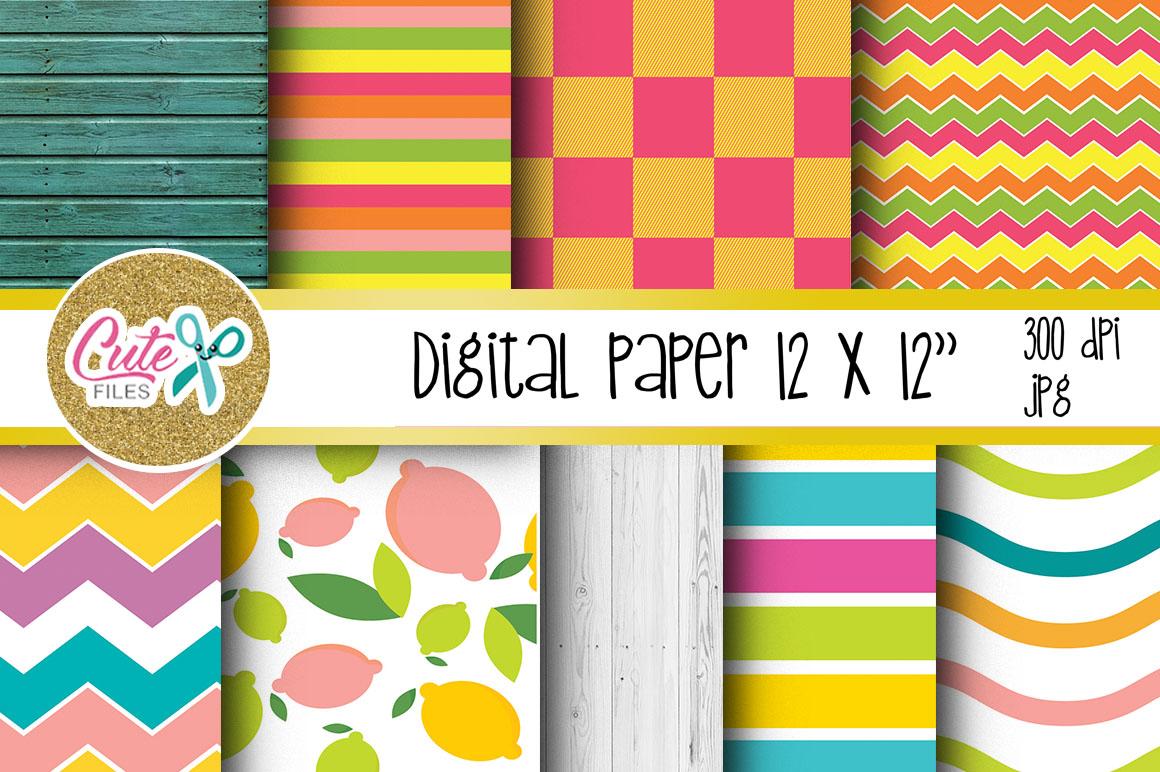 Summer Digital Paper, colorful digital paper example image 2