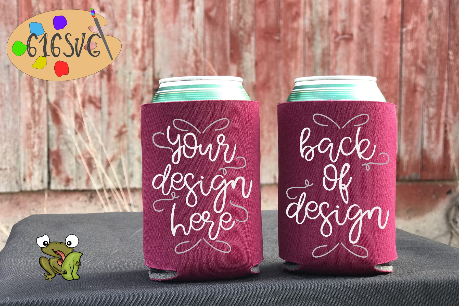 Burgundy Can Cooler Mockup example image 2
