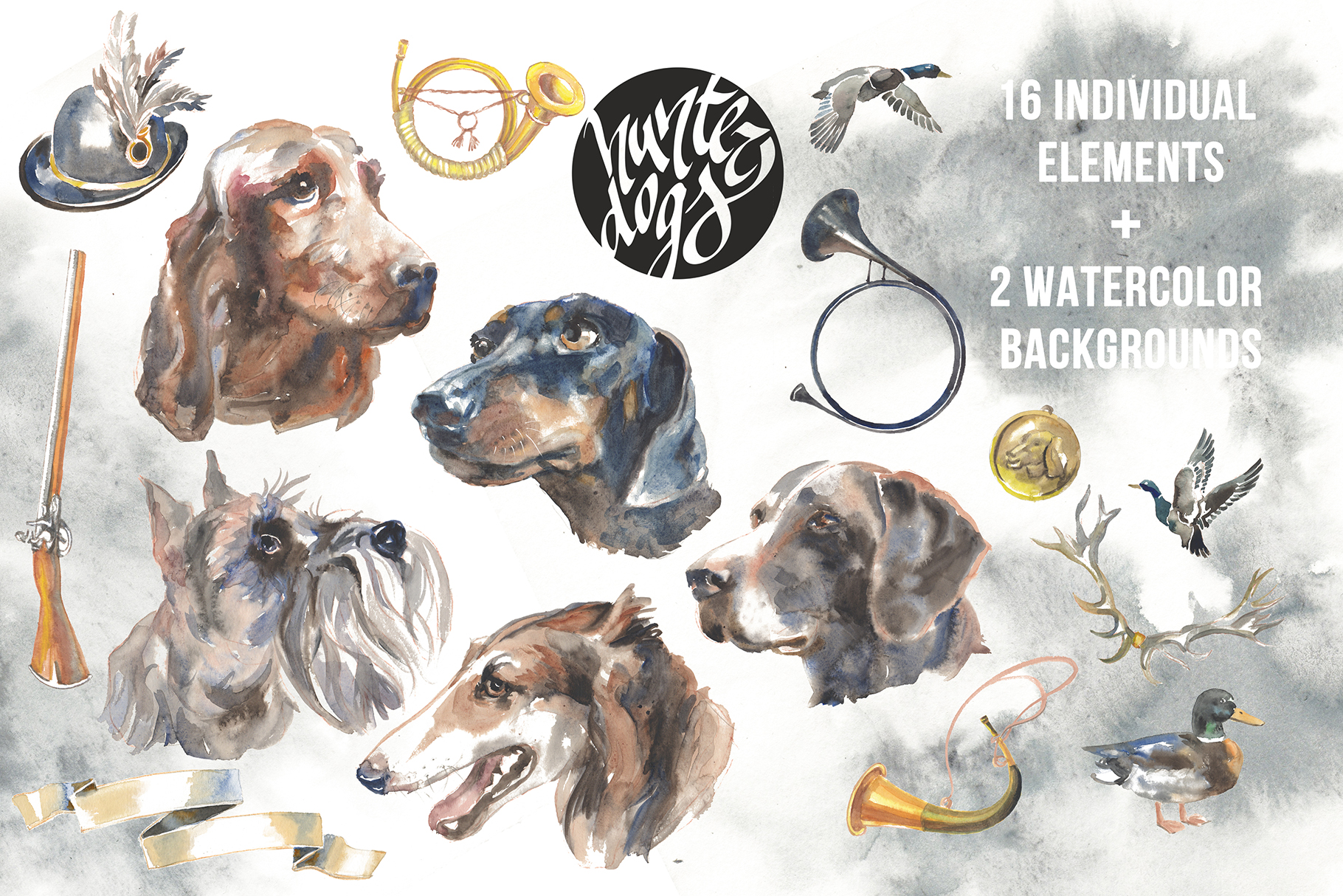 Hunter dogs Watercolor Set example image 4