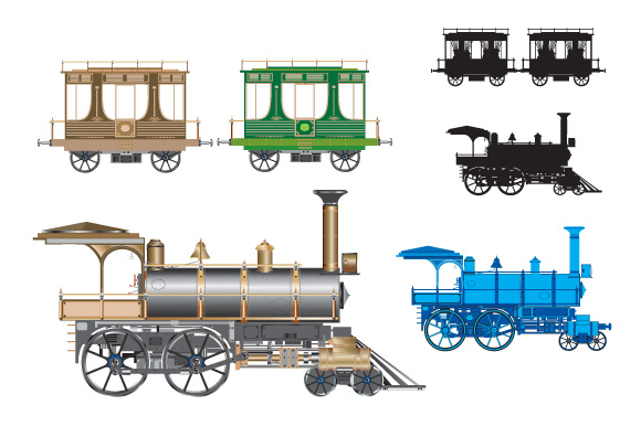 Retro cars and trains vector clipart example image 5