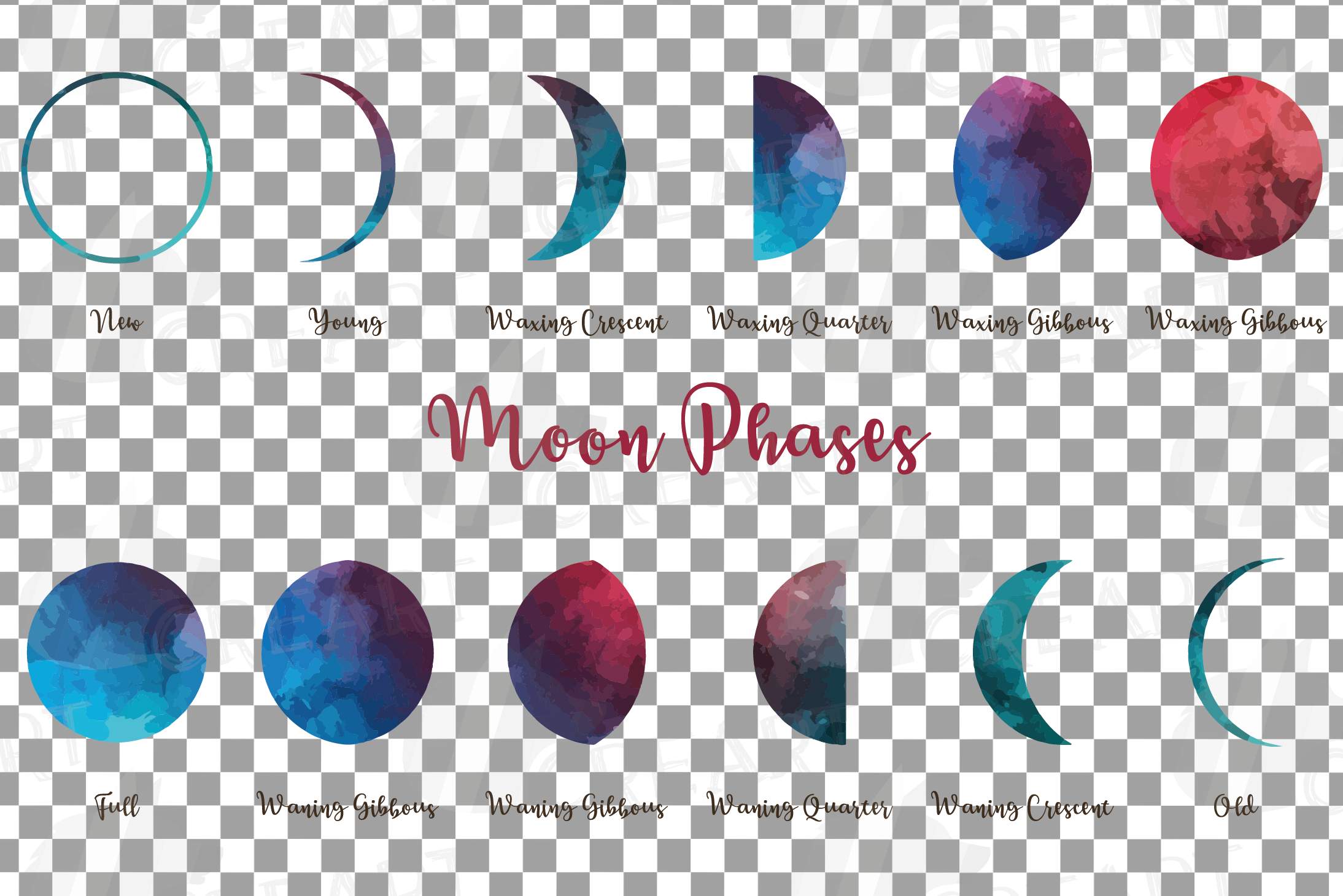 Watercolor space blue and grey Moon Phases clip art pack example image 4