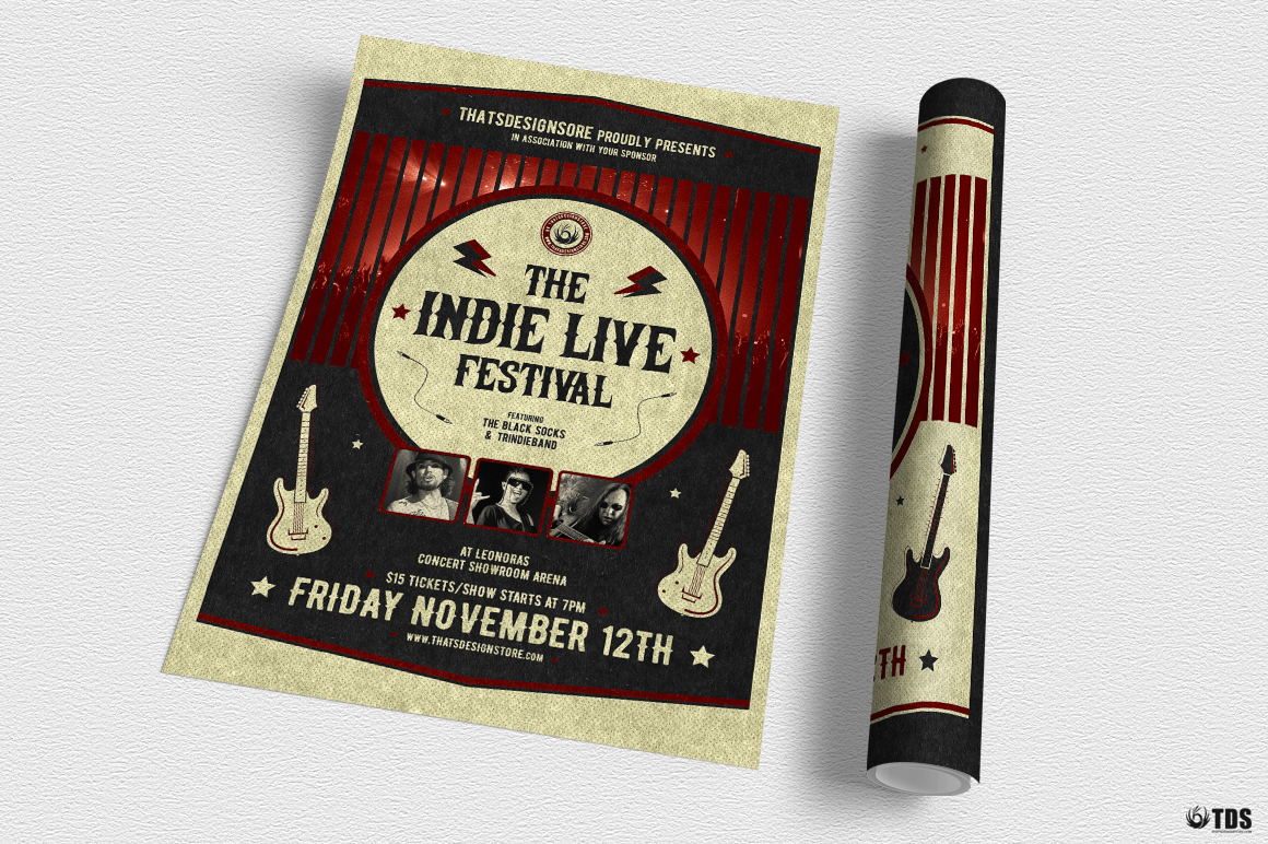 Indie Live Festival Flyer Template V2 example image 3