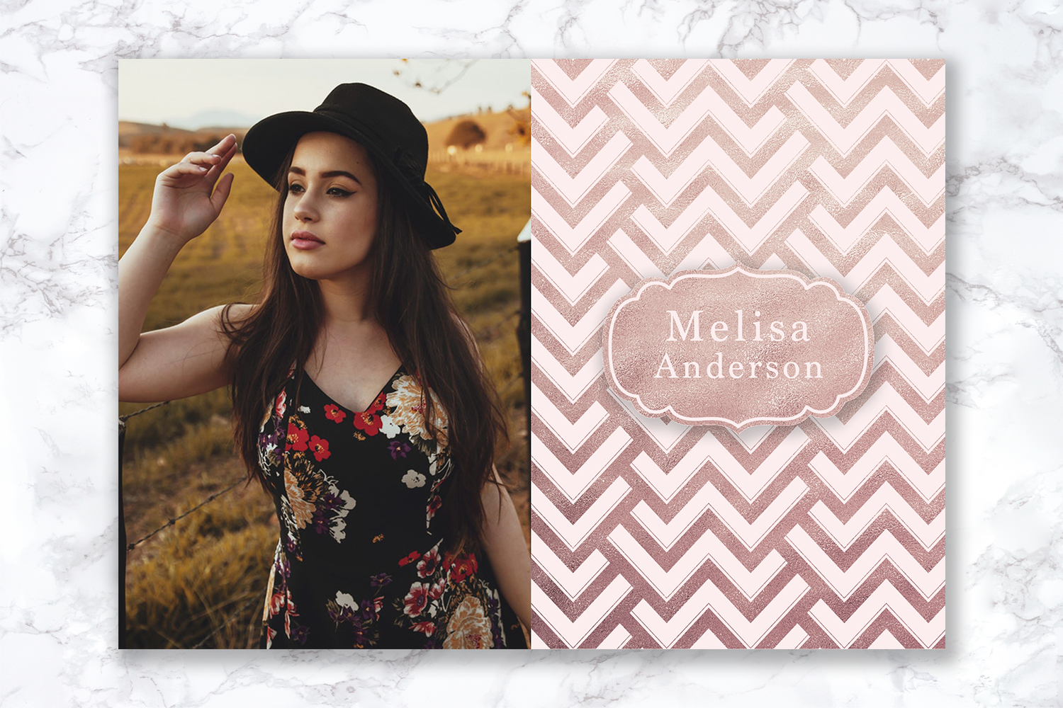 Senior Announcement Card - Rose gold - Photoshop Template example image 2
