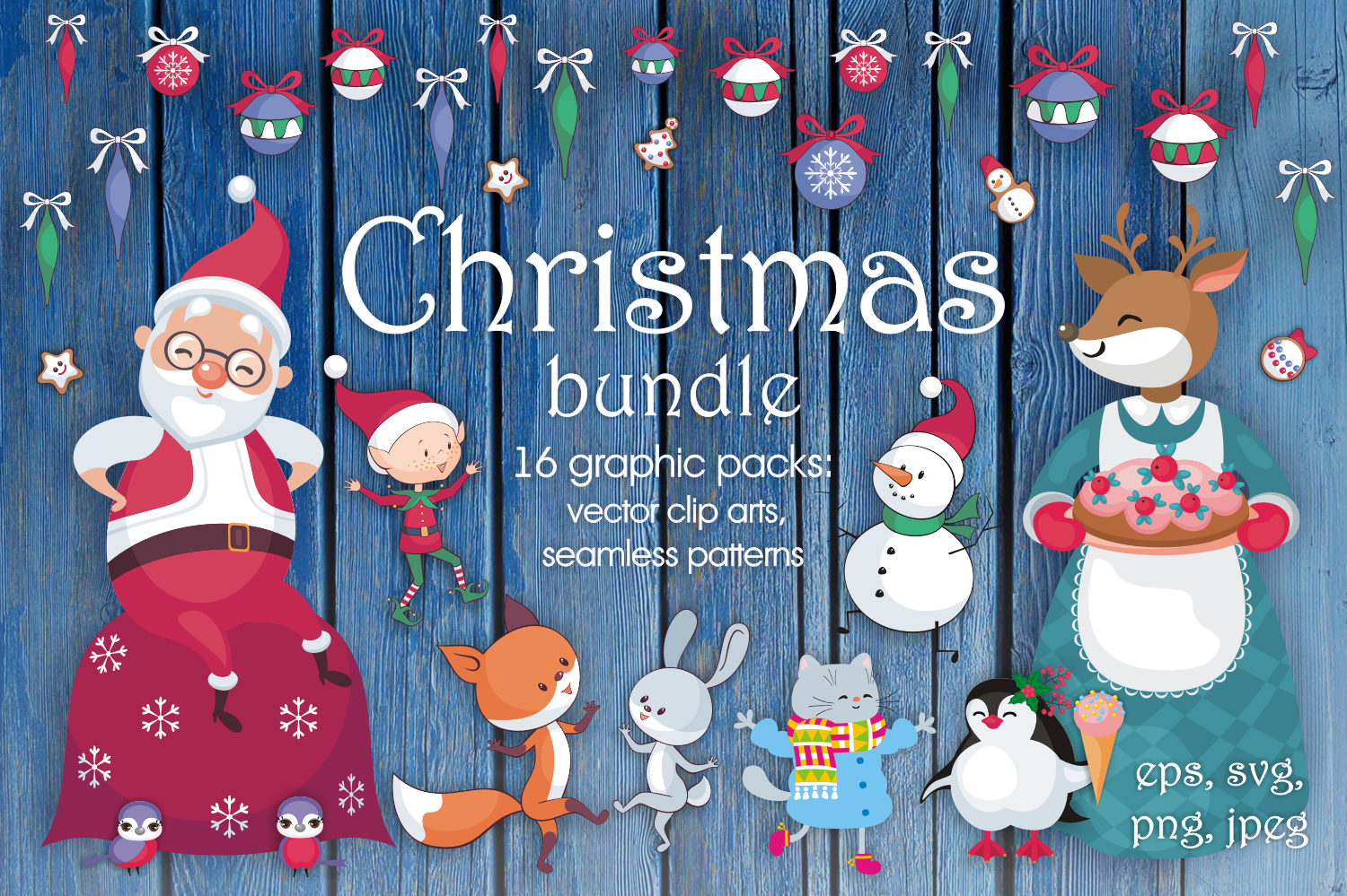 Christmas bundle. Vector cliparts and seamless patterns example image 1