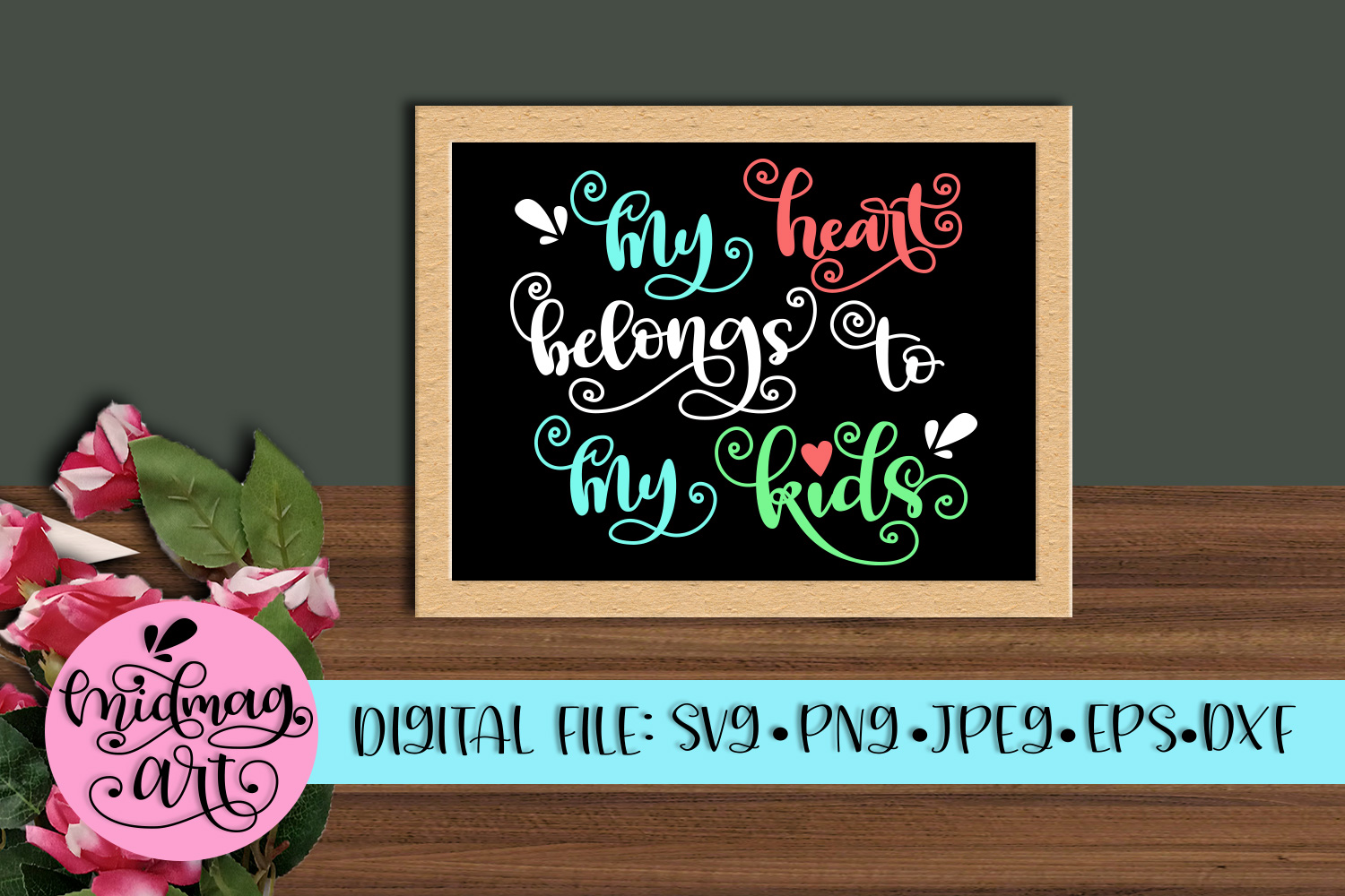 My heart belongs to my kids svg, png, jpeg, eps and dxf example image 1