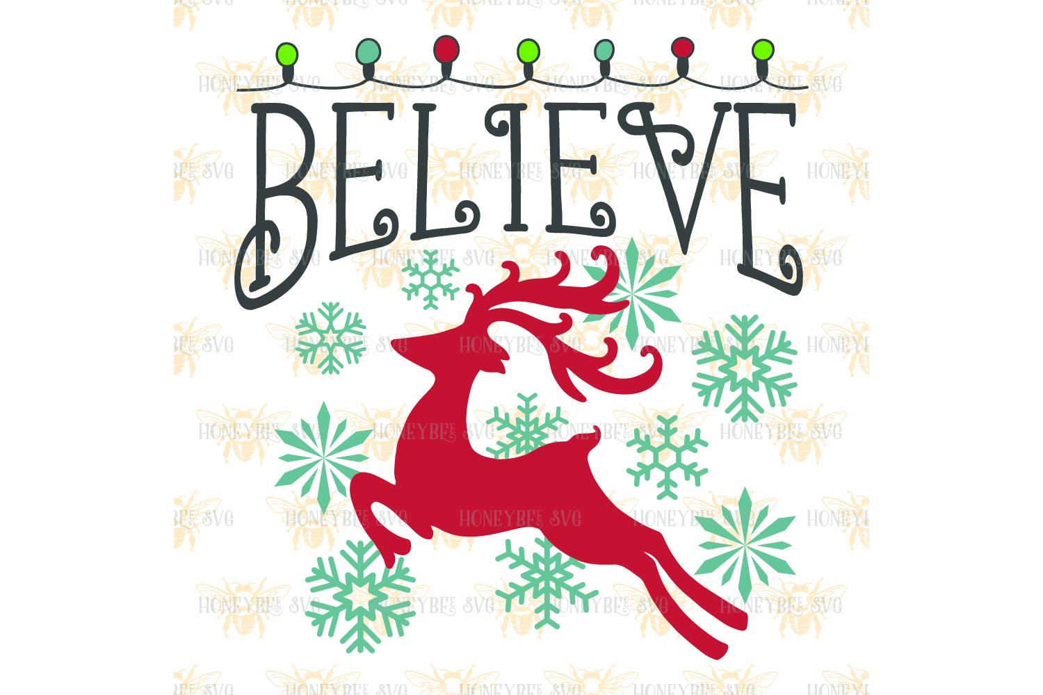 Believe Christmas Lights svg example image 2