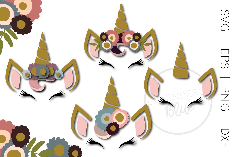 Unicorn Sleepy Eyes SVG Bundle | 4 Designs | Floral Cut File example image 1