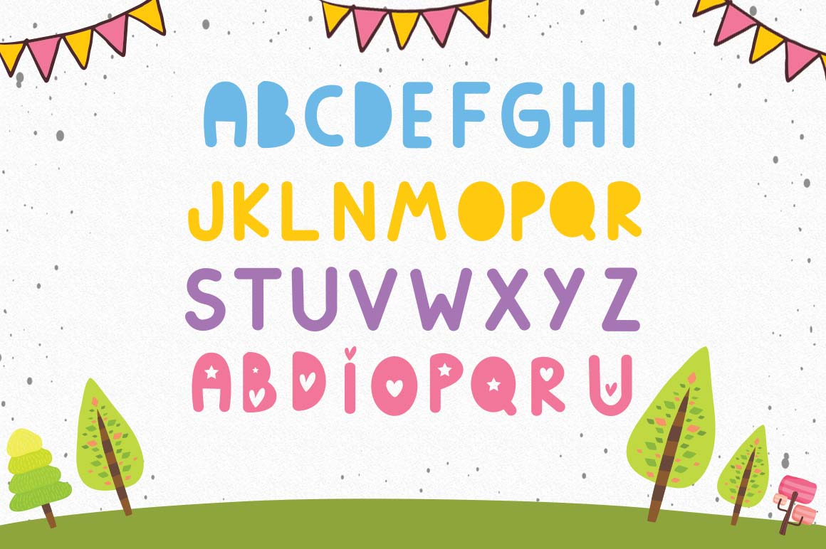 Lucy kids blocks font, A duo with hearts and blocks example image 3