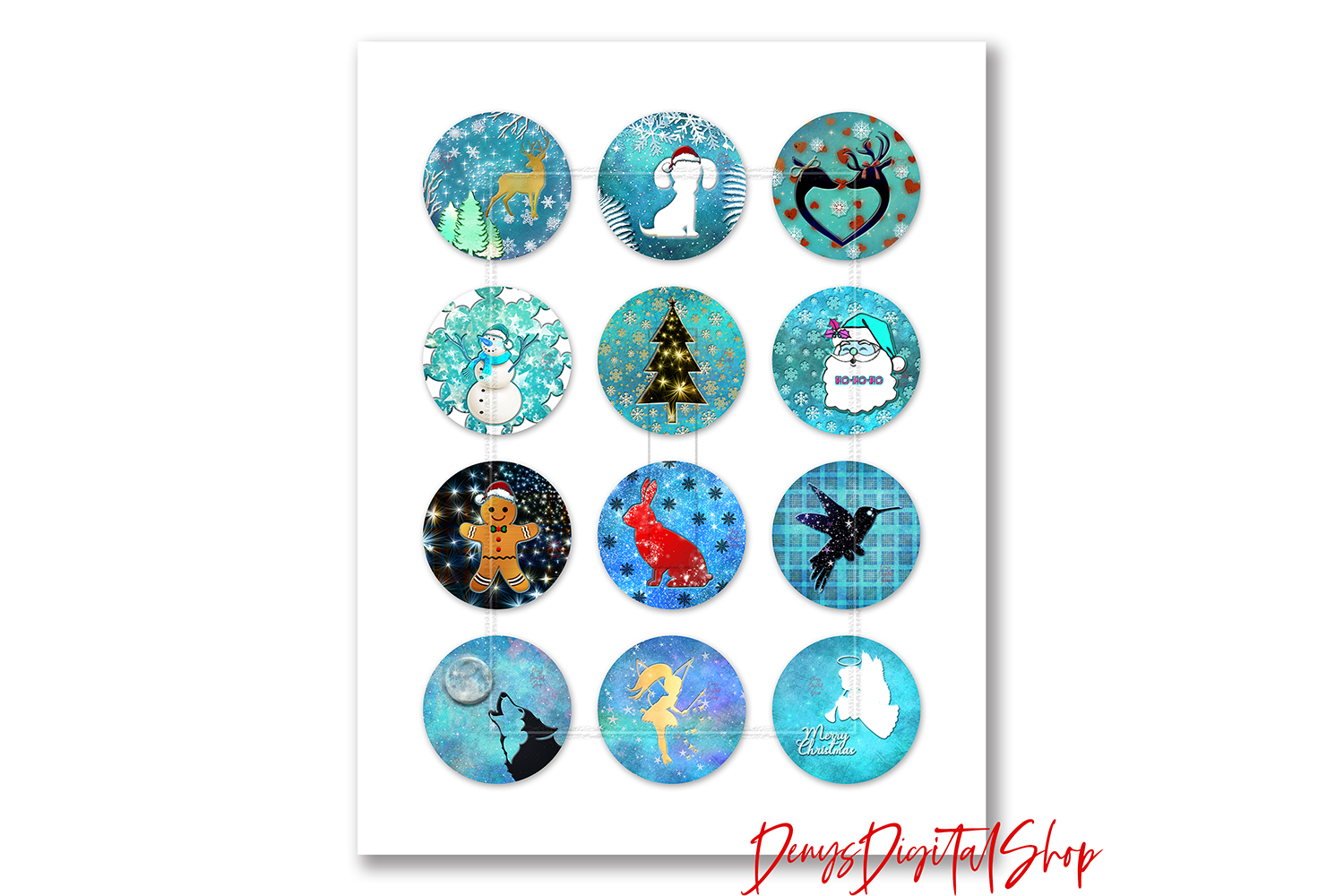 Christmas Magic,Digital Christmas Collage Sheet,Digital example image 2