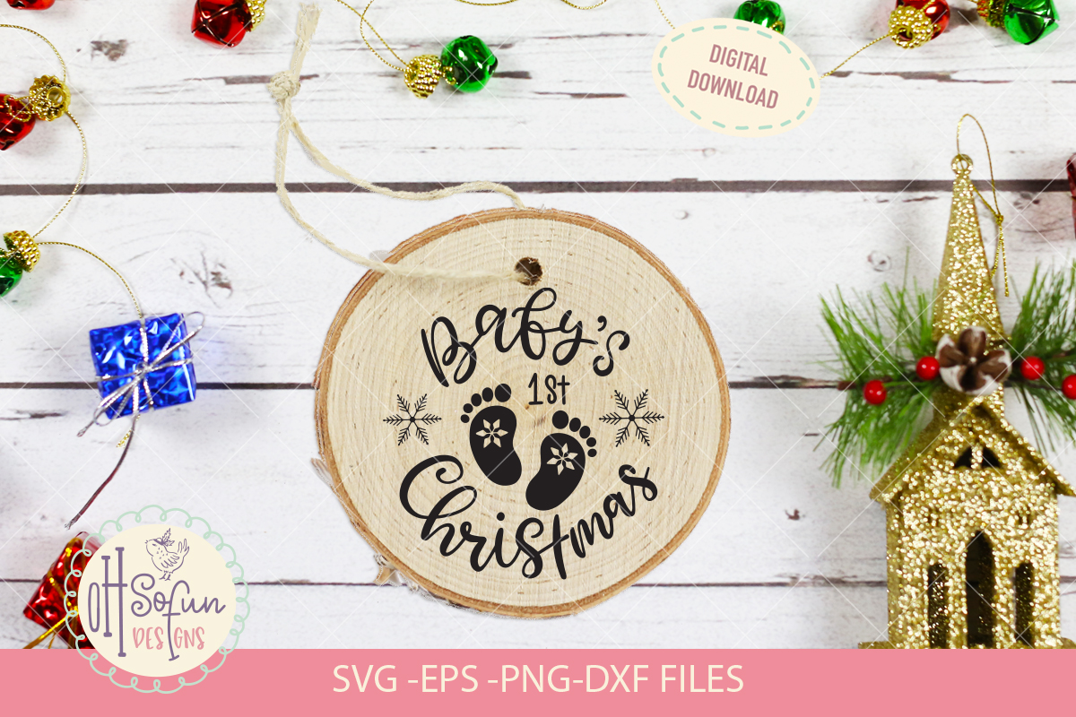 Baby's first christmas, hand lettering christmas SVG example image 2