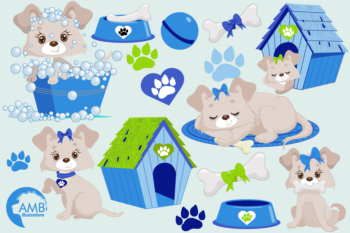 Boy Puppy Dog clipart, graphics, illustrations AMB-1930 example image 4